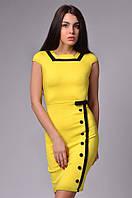Женское короткое платье с пуговицами и короткими рукавами