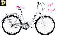 Велосипед Spelli CITY-24 (6 spd) бело-розовый, фото 1