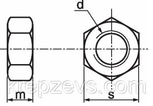 Гайка шестигранная М6 ГОСТ 5915-70, DIN 934 10.0