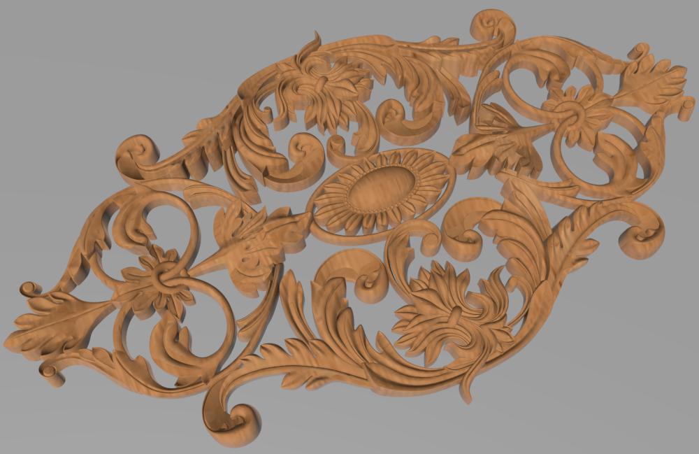 Код ДЦ25. Резной деревянный декор для мебели. Декор центральный