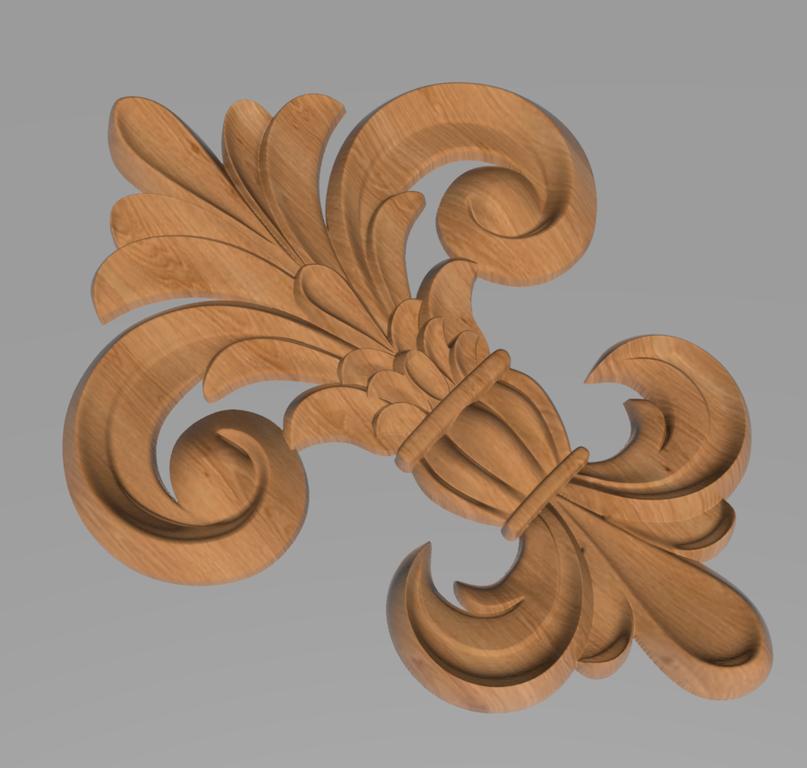 Код ДЦ27. Резной деревянный декор для мебели. Декор центральный