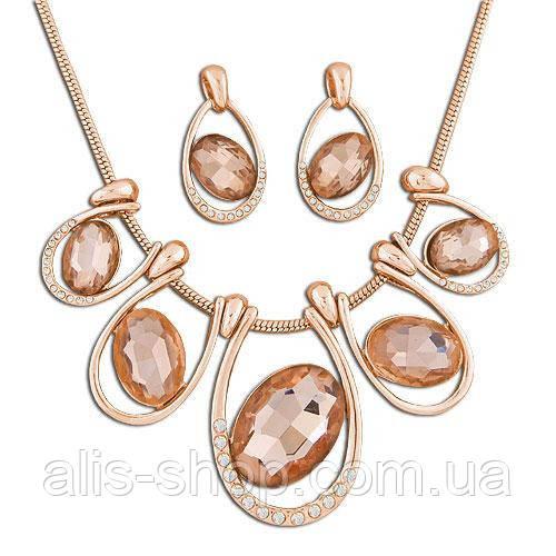 Золотая цепочка-жгут с круглыми камнями и бусинами, изысканный дизайн.