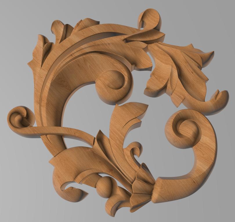 Код ДЦ29. Резной деревянный декор для мебели. Декор центральный