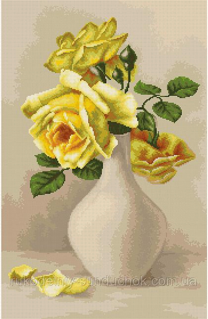 """Набор для вишивания гобелена """"Luca-S"""" G508 Желтые розы в вазе"""