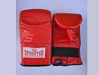 Снарядные перчатки из натуральной кожи, на резинке. Размер М, красные.