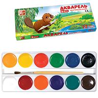 Краски акварельные медовые ЗОО/Мини/ б/к картонная упаковка 12 цветов Луч
