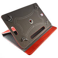 """Чехол-книжка универсальный 10"""", вращающийся, с белой строчкой, с отверстиями под камеру, Красный /flip case/флип кейс"""