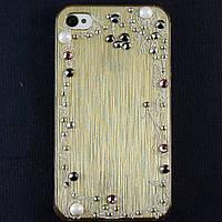 Чехол-накладка для Apple iPhone 4\4S, пластиковая со стразами, золотая, YOUNICOU (2) /case/кейс /айфон