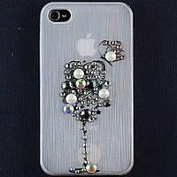 Чехол-накладка для Apple iPhone 4\4S, пластиковая со стразами, белая, YOUNICOU (10) /case/кейс /айфон