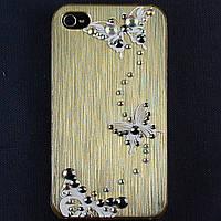 Чехол-накладка для Apple iPhone 4\4S, пластиковая со стразами, золотая, YOUNICOU (6) /case/кейс /айфон