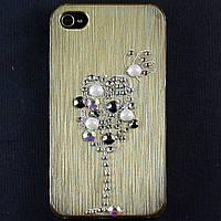 Чехол-накладка для Apple iPhone 4\4S, пластиковая со стразами, золотая, YOUNICOU (8) /case/кейс /айфон