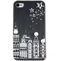 Чехол-накладка для Apple iPhone 4\4S, пластиковая со стразами, черная, YOUNICOU (9) /case/кейс /айфон