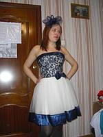 Взрослое, вечернее, нарядное платье Диор синий короткий - прокат Киев, Троещина