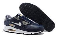 Кроссовки мужские Nike Air Max 90 Premium LTR Obsidian/White/Wo кроссовки найк аир макс, кроссовки nike купить, фото 1