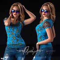 Женская голубая футболка вискоза