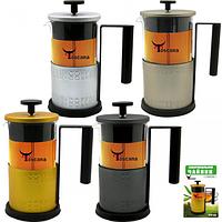 Заварочный чайник с поршнем 400мл, 4 цвета Микс с тиснением SNT 9016