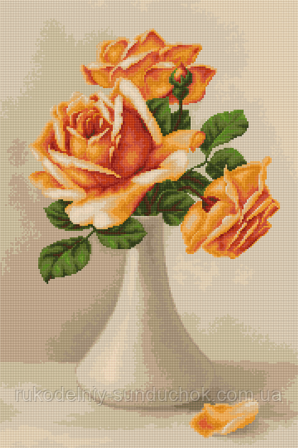 """Набор для вишивания гобелена """"Luca-S"""" G505 Оранжевые розы в вазе"""