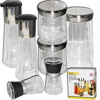 Набор ёмкостей для сыпучих продуктов 7шт (емкости:1.55л,780мл бутылки:250мл,спецовники:180мл) SNT 7042