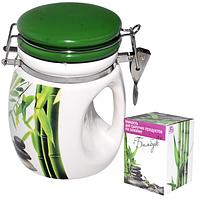 Емкость для сыпучих продуктов на зажиме Зеленый бамбук 840 мл SNT 6171