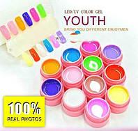 Набор Цветные гели  УФ яркие матовые Canni Youth  по  5мл 12 шт, фото 1