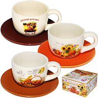 Чашка с блюдцем Кантри Микс (чашка 240 мл, блюдце 14 см) SNT 3390-4