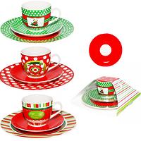 Набор для завтрака 3 предмета (тарелка 20см чашка 200мл блюдце 14см) Новый год SNT 1595