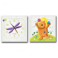 Часы настенные на холсте двух секционные Мишка (28*28см 1 секция) SNT 06-109