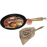 Сковорода чугунная плита с деревянной ручкой 24см, h-2.5см SNT 99029