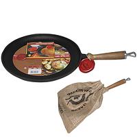 Сковорода чугунная плита с деревянной ручкой 26см, h-2.5см SNT 99030