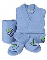 Набор халат, тапочки и полотенце Karaca Home Formula голубой