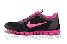 Кроссовки женские в стиле Nike Free Run 3.0, Чёрный\Розовый, фото 3
