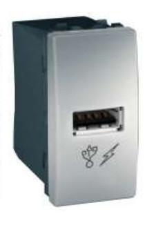 Розетка Schneider-Electric Unica USB 1-модуль алюминий. MGU3.428.30
