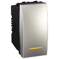 Выключатель Schneider-Electric Unica 1-клавишный с подствет. 16А алюминий. MGU3.161.30S