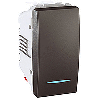 Переключатель Schneider-Electric Unica 1-клавишный проходной с инд. графит. MGU3.103.12N