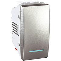 Переключатель Schneider-Electric Unica 1-клавишный проходной с инд. алюминий. MGU3.103.30N