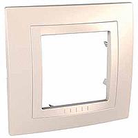 Рамка Schneider-Electric Unica Basic 1-пост с декоративным элементом слоновая кость. MGU2.002.25