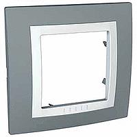 Рамка Schneider-Electric Unica Basic 1-пост с декоративным элементом серая/техно белая. MGU2.002.858