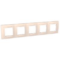 Рамка Schneider-Electric Unica Basic 5-постов с декоративным элементом слоновая кость. MGU2.010.25