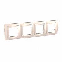 Рамка Schneider-Electric Unica Basic 4-поста с декоративным элементом слоновая кость. MGU2.008.25