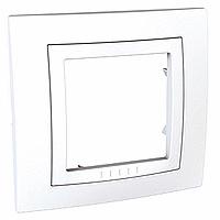 Рамка Schneider-Electric Unica Basic 1-пост с декоративным элементом белая. MGU2.002.18