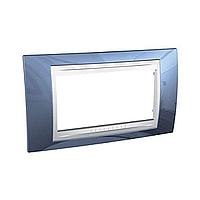 Рамка Schneider-Electric Unica Plus 4-поста голубой лёд/белый. MGU6.104.854
