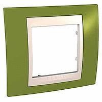 Рамка Schneider-Electric Unica Plus 1-пост хамелеон фисташковый/слоновая кость. MGU6.002.566