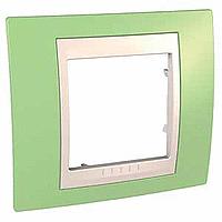 Рамка Schneider-Electric Unica Plus 1-пост хамелеон зеленое яблоко/слоновая кость. MGU6.002.563
