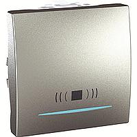 """Выключатель Schneider-Electric Unica кнопка """"звонок"""" с инд. алюминий. MGU3.206.30CN"""