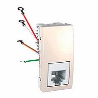 Розетка Schneider-Electric Unica телефонна 1-модуль 4 конт. RJ11 слонова кістка. MGU3.490.25