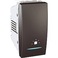 """Выключатель Schneider-Electric Unica кнопка """"свет"""" с инд. графит. MGU3.106.12LN"""