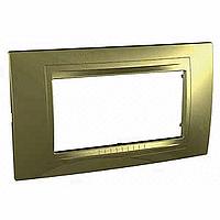 Рамка Schneider-Electric Unica Allegro 4-поста золото. MGU4.104.64