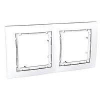 Рамка Schneider-Electric Unica Colors 2-постовая белая. MGU4.004.18