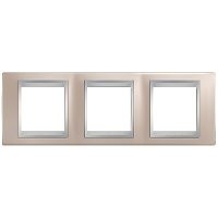 Рамка Schneider-Electric Unica Top 3-поста оникс медный/алюминий. MGU66.006.096
