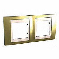 Рамка Schneider-Electric Unica Top 2-поста золото/слоновая кость. MGU66.004.504